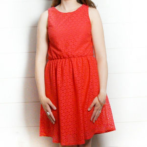Red Crochet Eyelet Dress Fully Lined Size M